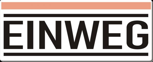 Einweg-Schild 250mm (§32 VerpackG), mit doppelseitigem Klebeband, gerundete Ecken