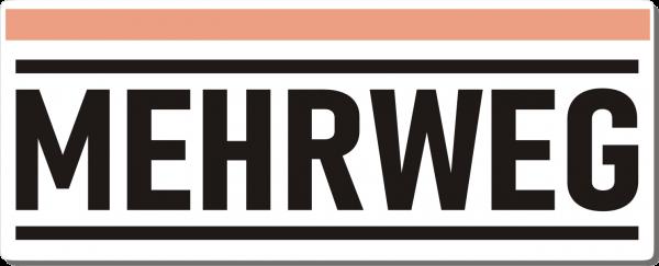 Mehrweg-Schild 250mm (§32 VerpackG), mit doppelseitigem Klebeband, gerundete Ecken