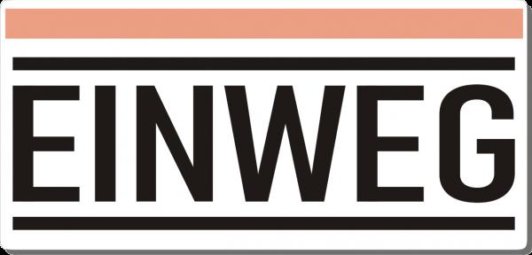 Einweg-Schild 210mm (§32 VerpackG), mit doppelseitigem Klebeband, gerundete Ecken