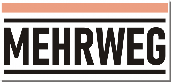 Mehrweg-Schild 210mm (§32 VerpackG), mit doppelseitigem Klebeband