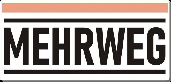 Mehrweg-Schild 210mm (§32 VerpackG), mit doppelseitigem Klebeband, gerundete Ecken